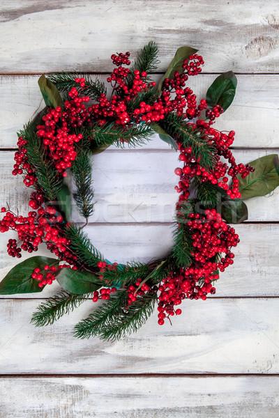 Tavolo in legno Natale decorazioni copia spazio testo Foto d'archivio © master1305