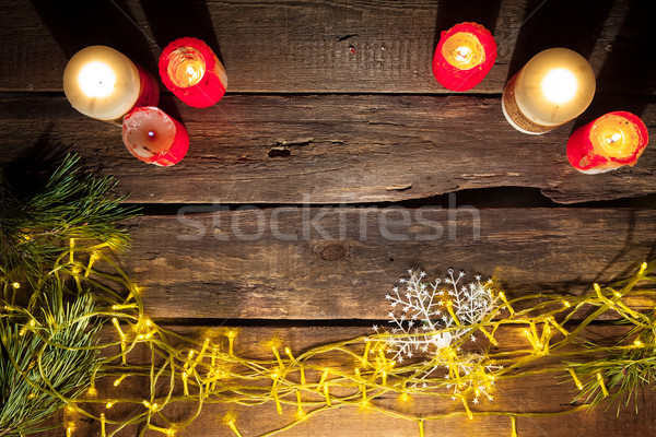 The wooden table with Christmas decorations  Stock photo © master1305