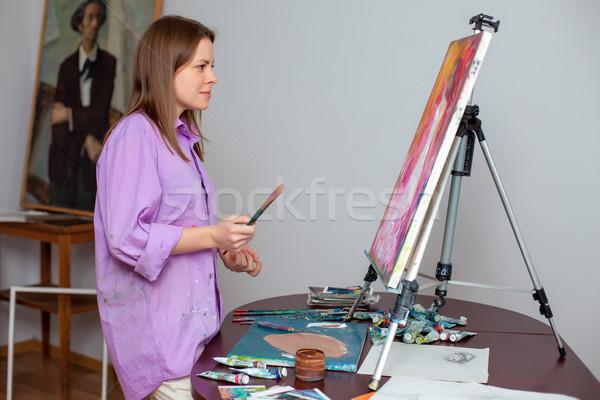 Creatieve kunstenaar tekening studio vrouwelijke foto Stockfoto © master1305