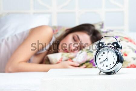 若い女の子 寝 ベッド 小さな 美少女 クロック ストックフォト © master1305
