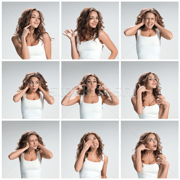 Set of young woman's portraits with different happy emotions Stock photo © master1305