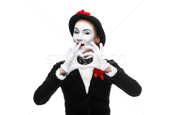 Portrait of the mime  with hands folded in  shape as a heart Stock photo © master1305