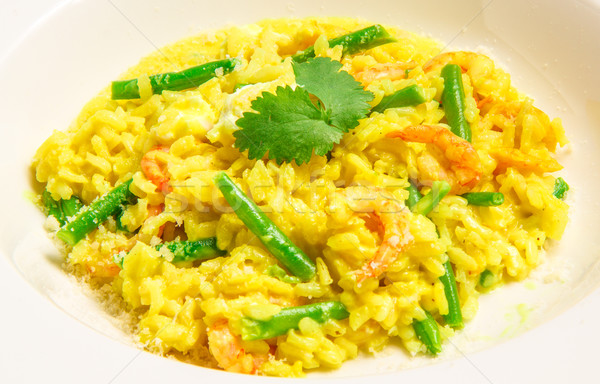 Delicious italian risotto with shrimps Stock photo © master1305