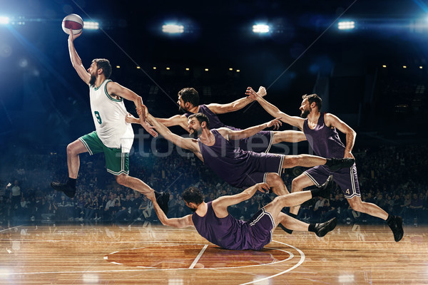 The collage from images of one basketball player with a ball against the fans Stock photo © master1305
