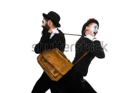 Człowiek biznesu kobieta teczki dwa odizolowany Zdjęcia stock © master1305
