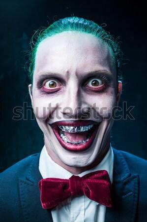 Terrível palhaço halloween louco vermelho camisas Foto stock © master1305