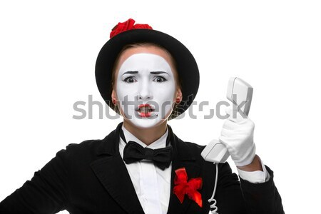 Portrait of the surprised mime with their hands up Stock photo © master1305