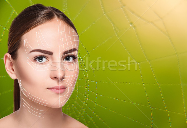 The woman face  with arrows over green background as web Stock photo © master1305