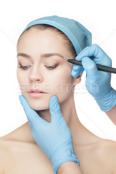 Stok fotoğraf: Güzel · genç · kadın · plastik · cerrahi · operasyon · dokunmak · kadın · yüzü