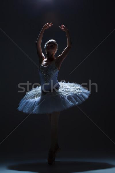 Portrait of the ballerina in ballet tatu on dack background Stock photo © master1305