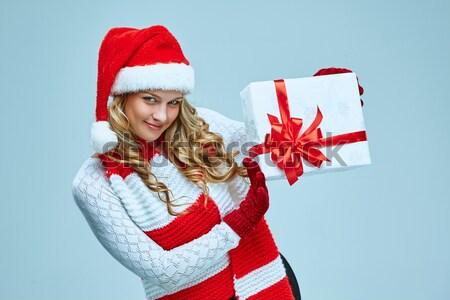 Belo mulher jovem papai noel roupa dom cinza Foto stock © master1305