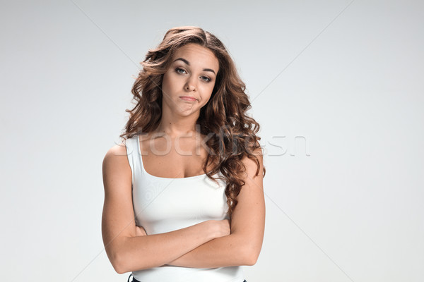 Boldog figyelmes nő szürke fiatal megbánás Stock fotó © master1305