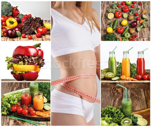 Młodych zdrowych kobieta warzyw kolaż zielone Zdjęcia stock © master1305