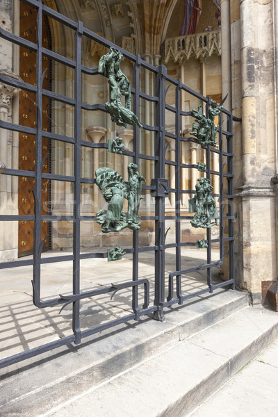 Statues on the railing of Saint Vitus cathedral at Prague, Czech Republic Stock photo © master1305
