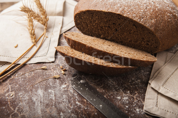パン ライ麦 木製 ナイフ トウモロコシ 黒 ストックフォト © master1305