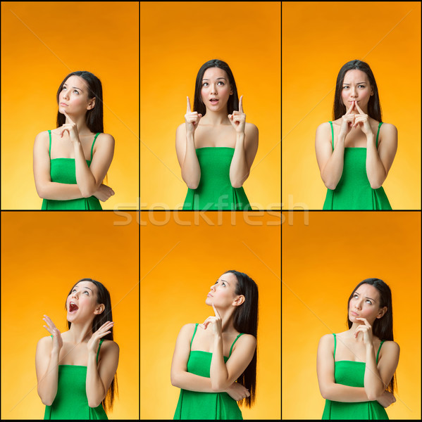 The thinking Chinese girl on yellow background Stock photo © master1305