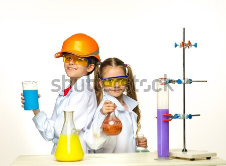 Kettő aranyos gyerekek kémia lecke készít Stock fotó © master1305