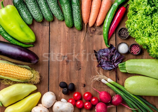 Stock fotó: Tarka · zöldségek · fa · asztal · szett · gyógynövények · fűszer