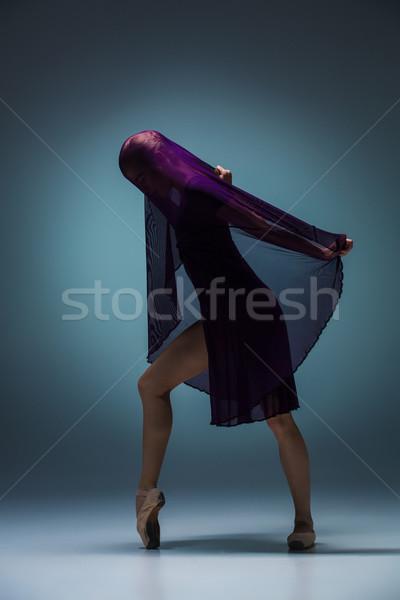 Gyönyörű ballerina tánc kék fátyol sziluett Stock fotó © master1305
