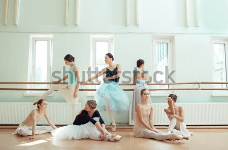 The seven ballerinas at ballet bar Stock photo © master1305