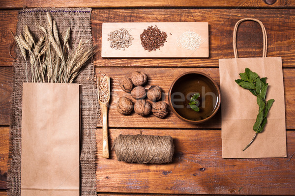 collection of healthy superfood, top view Stock photo © master1305