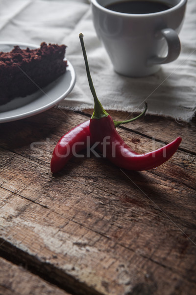 Chocolate cake and coffee Stock photo © master1305