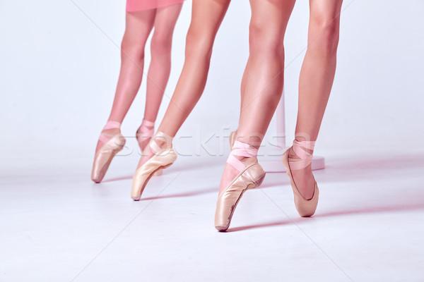 Foto stock: Pé · jovem · sapatos · três · bege