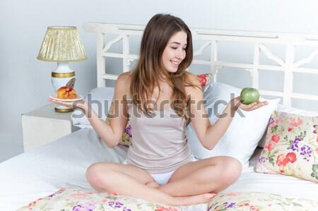 Manana desayuno jóvenes hermosa niña cama casa Foto stock © master1305