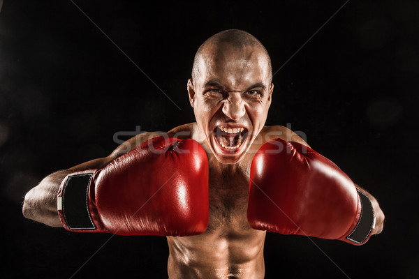 Giovane kickboxing nero urlando faccia giovani Foto d'archivio © master1305
