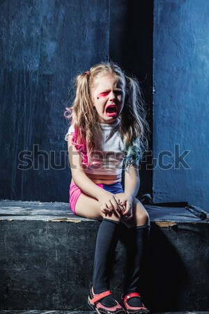 Bloody Halloween theme: The funny crasy girl with knife Stock photo © master1305
