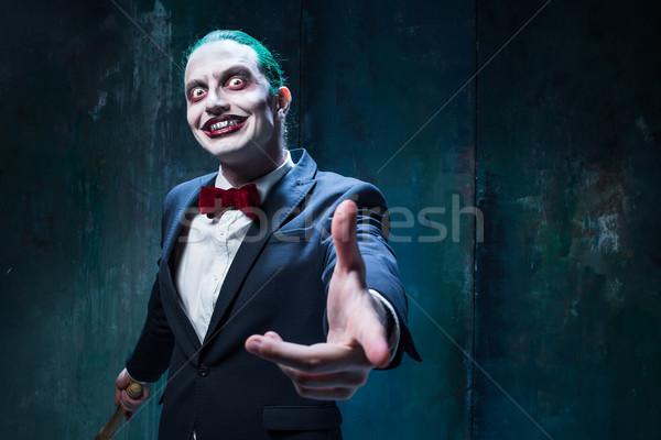 Bloody Halloween theme: crazy joker face Stock photo © master1305