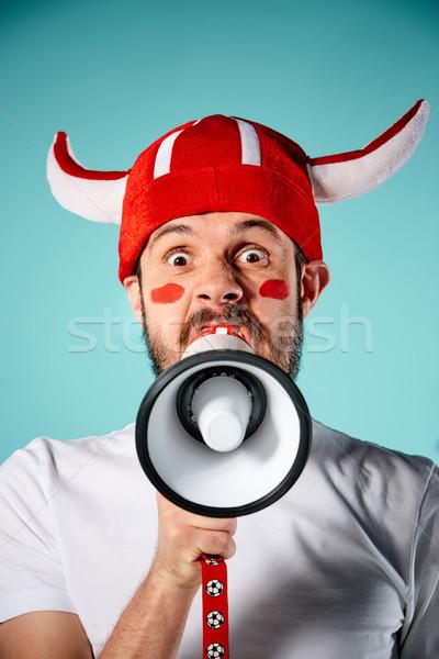 Futball ventillátor kék énekel himnusz futball Stock fotó © master1305