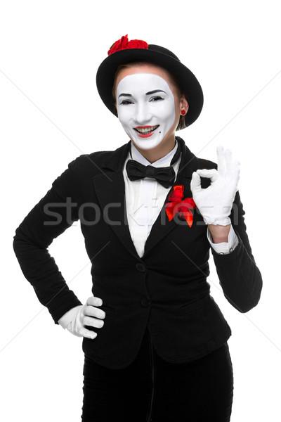 Portret zdziwiony radosny kobieta odizolowany biały Zdjęcia stock © master1305