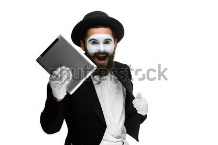 mime as a businessman holdinga keyboard Stock photo © master1305