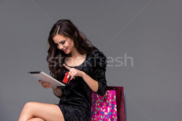 Stockfoto: Mooie · jong · meisje · betalen · creditcard · winkelen · laptop