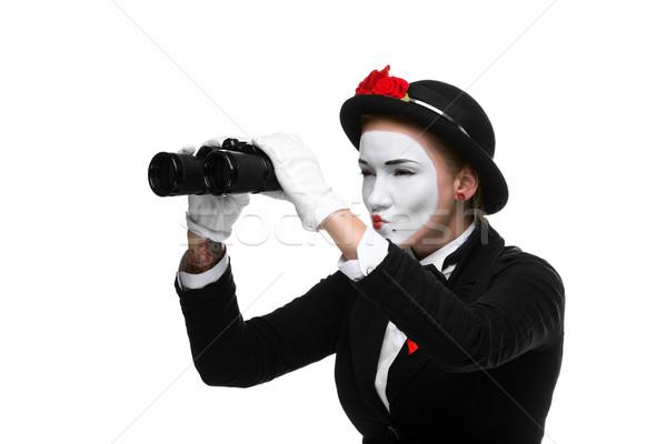 Portret lornetki kobieta odizolowany biały Zdjęcia stock © master1305