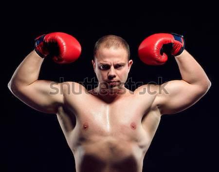 Muskularny człowiek młodych bokser czerwony Zdjęcia stock © master1305