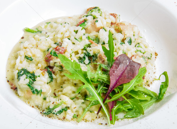 risotto with smoked meat, spinach, parmesan cheese  Stock photo © master1305