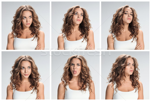 Ingesteld vrouw collage grijs vrouwen Stockfoto © master1305