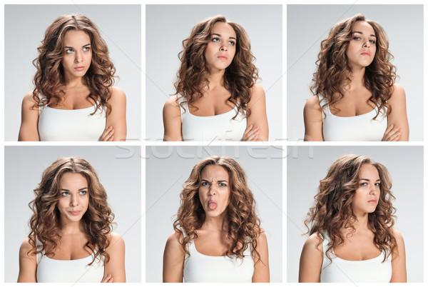 Conjunto mulher colagem cinza mulheres Foto stock © master1305