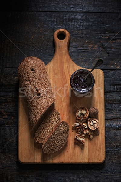 The top view of fruity jam on black wooden table Stock photo © master1305