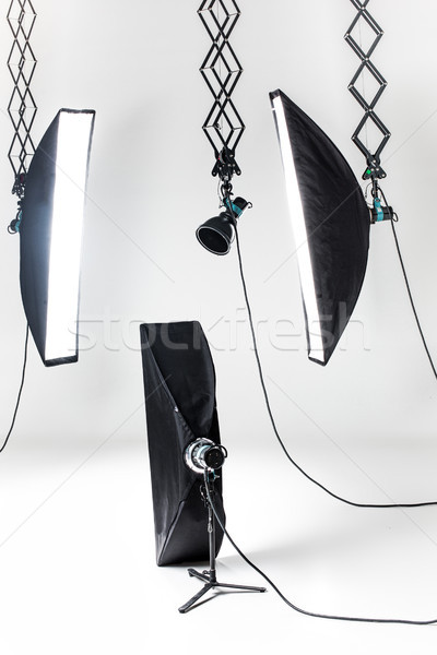 Empty photo studio with lighting equipment Stock photo © master1305