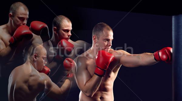Jovem boxeador boxe vermelho luvas preto Foto stock © master1305