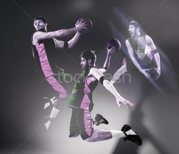 Teljes alakos portré kosárlabdázó labda kollázs képek Stock fotó © master1305