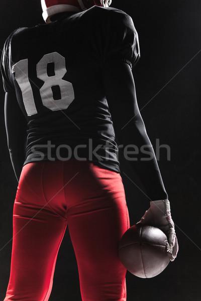 американский футболист позируют мяча черный кавказский Сток-фото © master1305