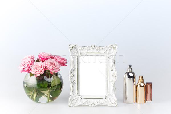 цветы ваза Vintage кадр белые цветы белый Сток-фото © master1305