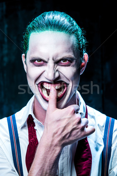 Bloedig halloween gek gezicht zwarte vlinder Stockfoto © master1305