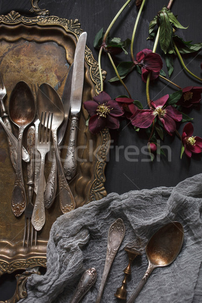 Old vintage ornamented cutlery and antique nickel copper tray  Stock photo © master1305