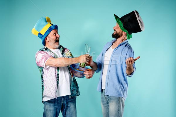 Due calcio tifosi blu calcio felice Foto d'archivio © master1305