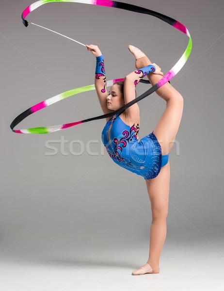 Stock fotó: Tinédzser · torna · tánc · szalag · színes · szürke